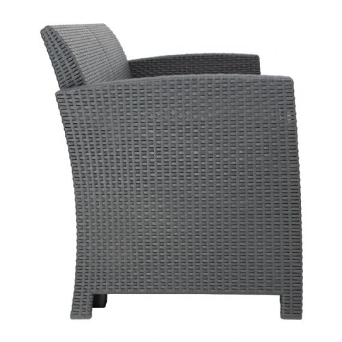 Bolero PP Grey Armchair and Table Wicker Set - DR309